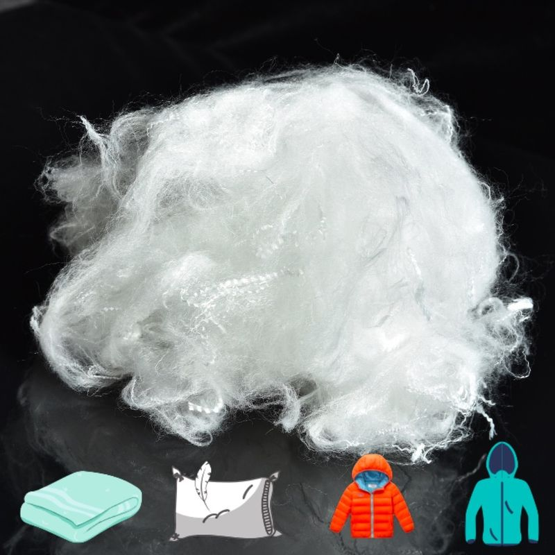 Raw White Siliconized Polyester Fiber 2.5D×51mm For Pillow Filling